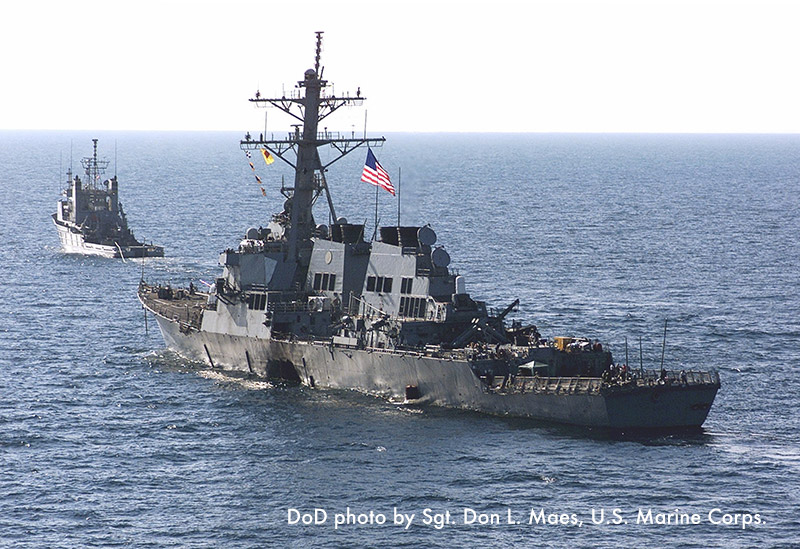 USS Cole departing from Yemen.